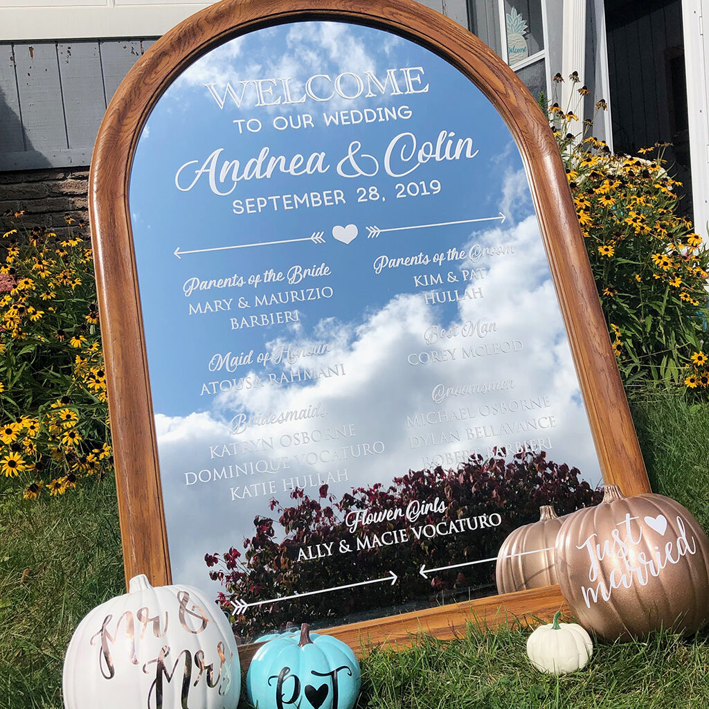 wedding welcome mirror and pumpkins
