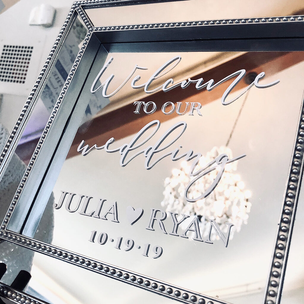 square wedding welcome mirror
