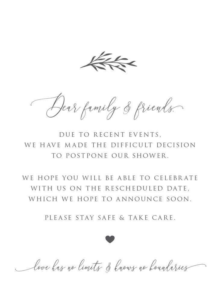 Shower postponement digital invitation