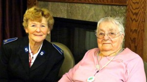 Donna Lohnes visiting with one of the retirement home residents.