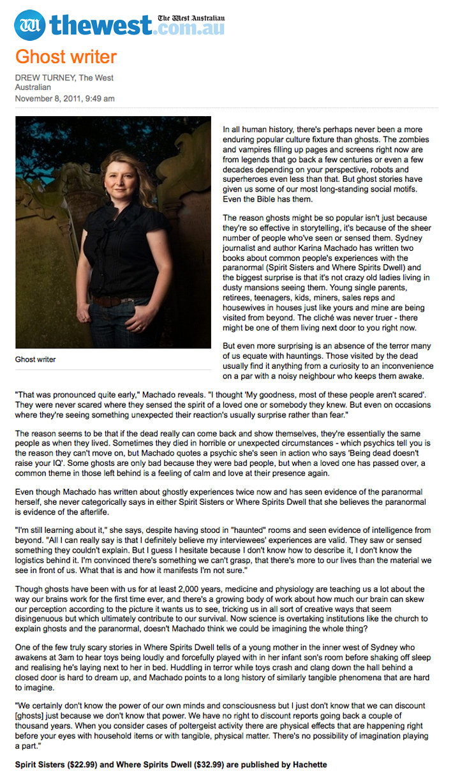 Karina Machado article in the West Australian