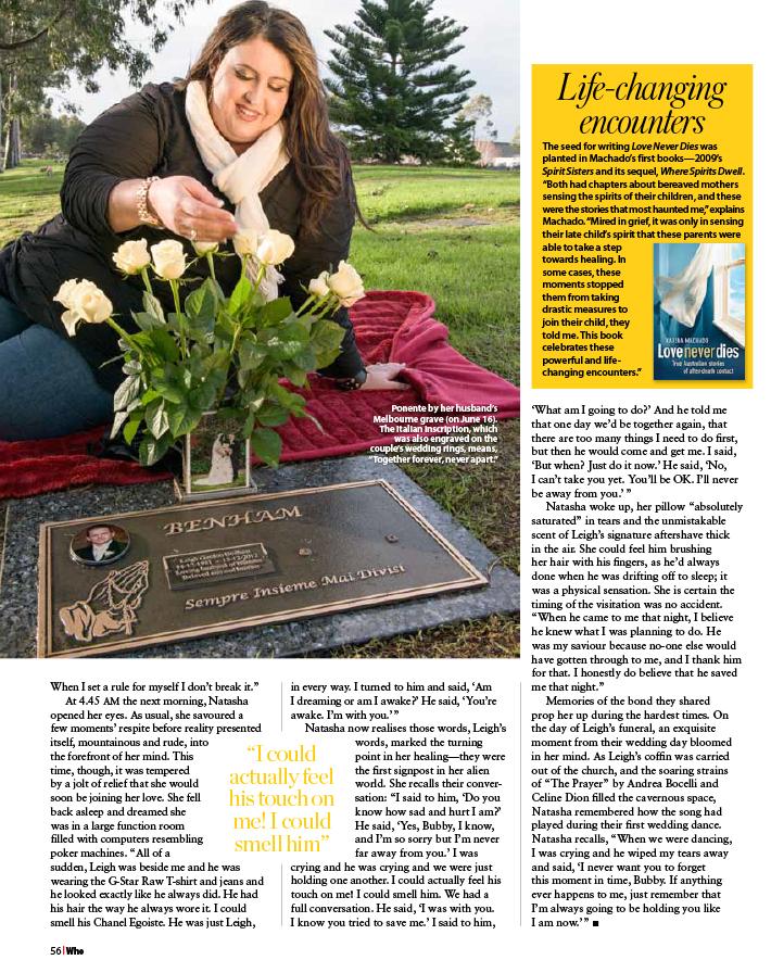 WHO magazine extract, Love Never Dies, Karina Machado
