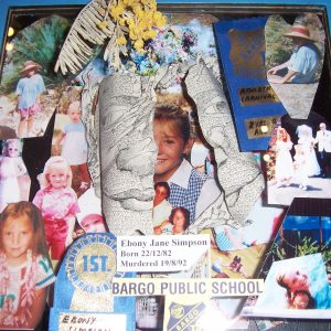 A box of mementos to remember Ebony Simpson in the Outsider Cafe.