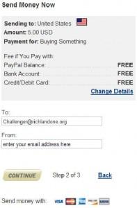 screen shot of PayPal screen