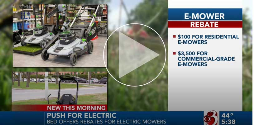 WCAX news about electric mower incentives