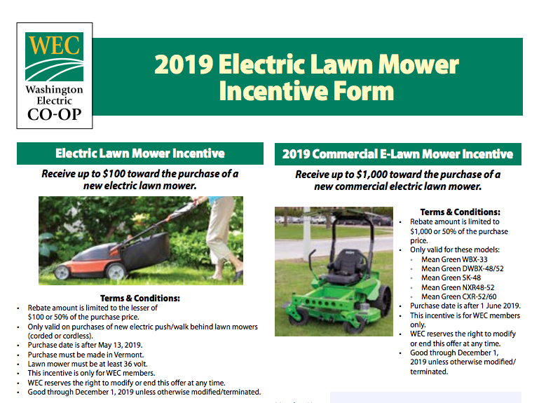 Electric mower rebates offered by Washington Electric Coop - WEC