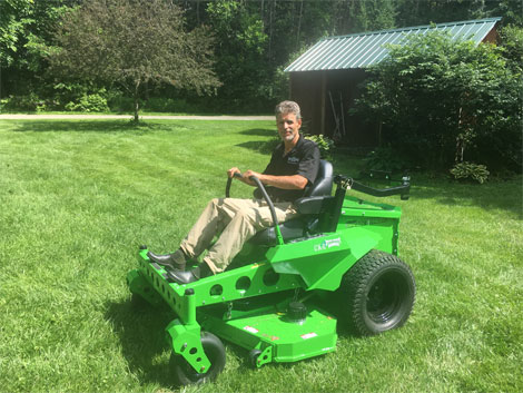 photo of Steven Wisbaum, Eco-Equipment Supply, with high performance electric mowers from Mean Green Mowers