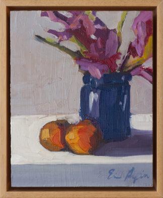 Gladiolus in Cobalt Jar, two Tangerines by Erin Lee Gafill