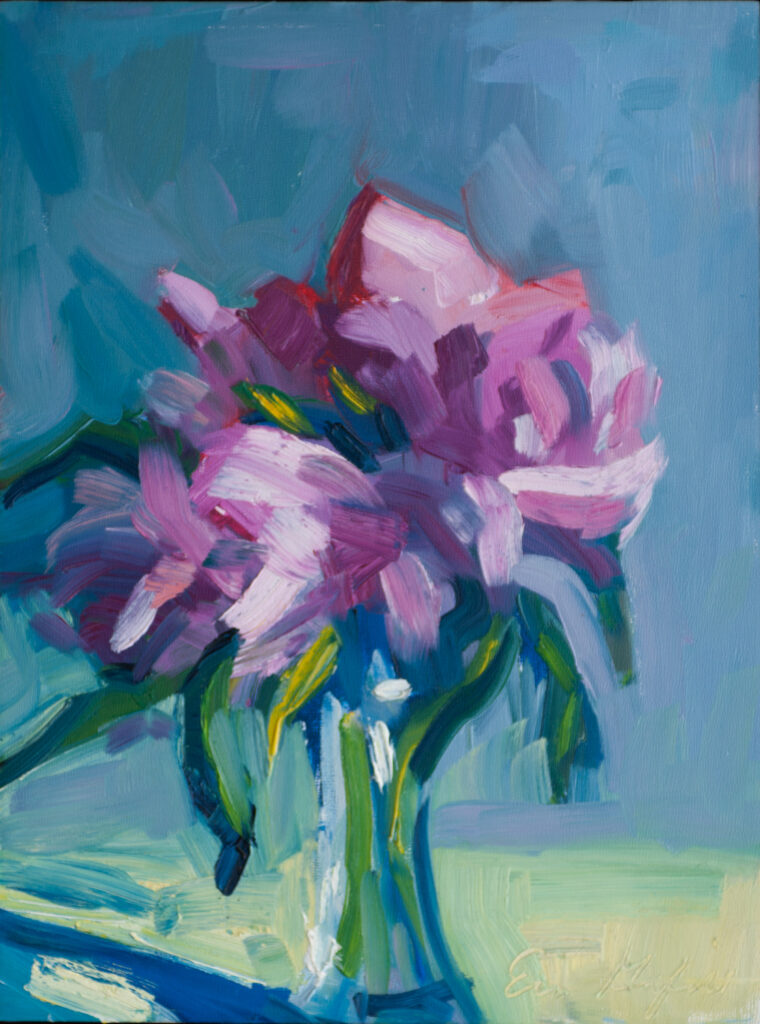 Peonies, Blue Wall by Erin Lee Gafill