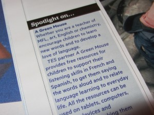 image of A Green Mouse article in the Times Educational Supplement