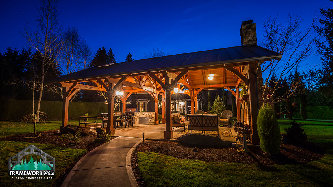 Walkway of the MT. Hood Timber Frame Pavilion built by timber entryway builder Framework Plus in Portland, OR