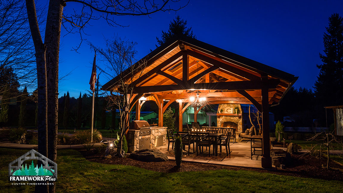 Back view of the MT. Hood Timber Frame Pavilion built by timber entryway builder Framework Plus in Portland, OR