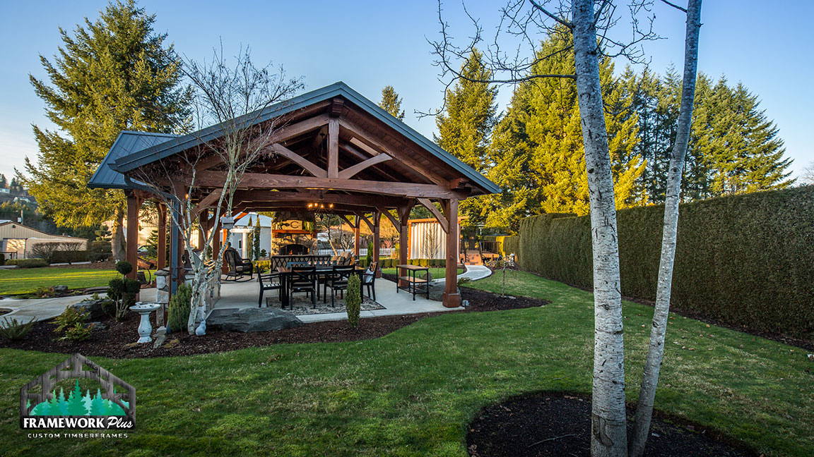 Daytime back view of the MT. Hood Timber Frame Pavilion built by timber entryway builder Framework Plus in Portland, OR