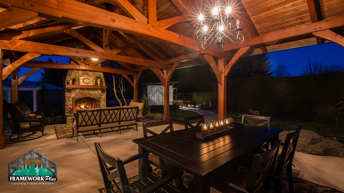 Interior view and chandelier in the MT. Hood Timber Frame Pavilion built by gazebo builder Framework Plus in Portland, OR