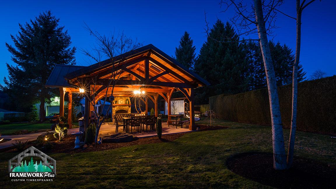 Side view of the MT. Hood Timber Frame Pavilion built by gazebo builder Framework Plus in Portland, OR