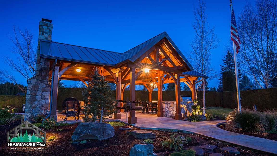 Front right side view of the MT. Hood Timber Frame Pavilion built by timber entryway specialist Framework Plus in Portland, OR