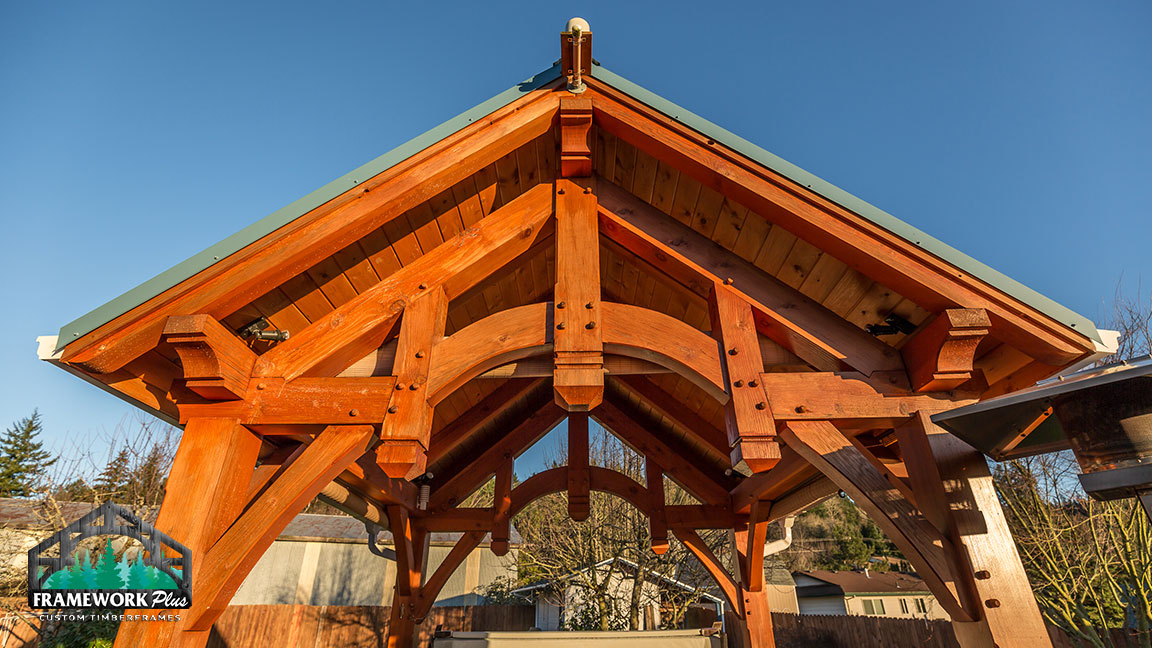 The roof of a pavilion designed and crafted by Framework Plus in Estacada, OR