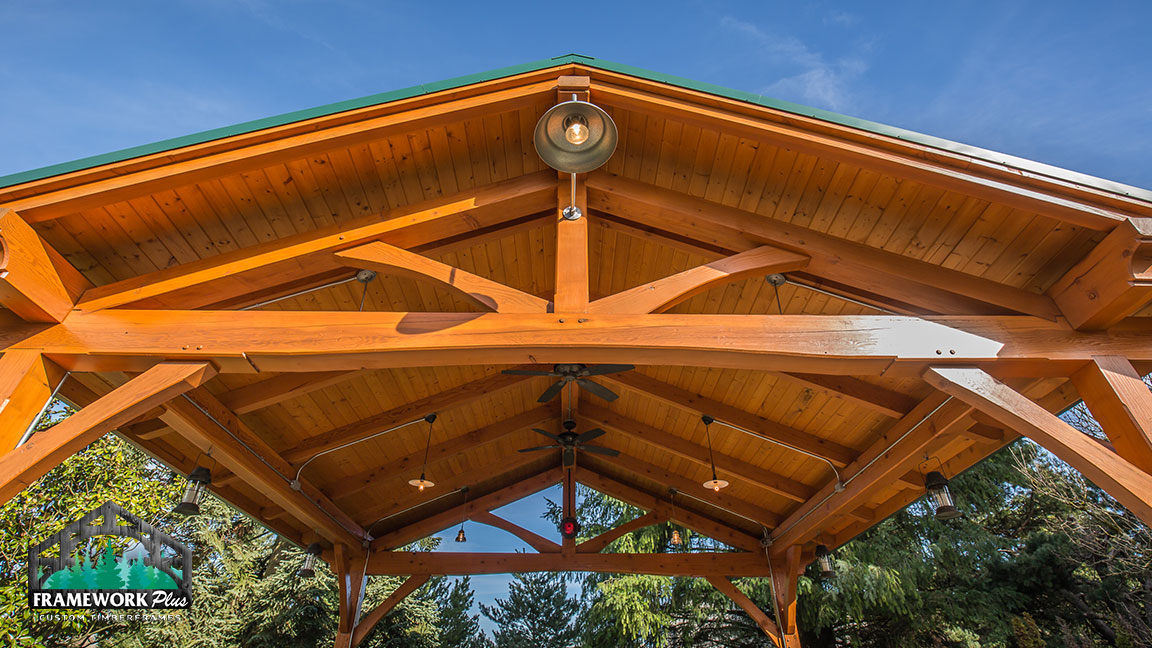 Close-up view of the top of a Timberline pavilion kit with tongue and groove wood ceiling designed by gazebo builder Framework Plus in Estacada, OR