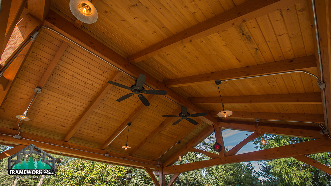 Close-up view of the ceiling of a Timberline pavilion kit with tongue and groove wood ceiling designed by pavilion kit building company Framework Plus in Estacada, OR
