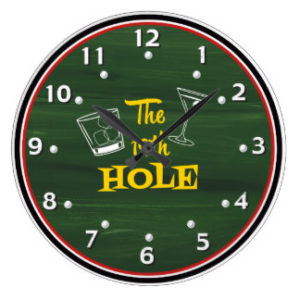19th hole golf wall clock, funny gifts for golfers
