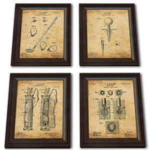 4 golf patent prints framed