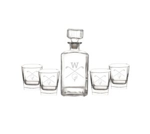 custom initial golf decanter glasses