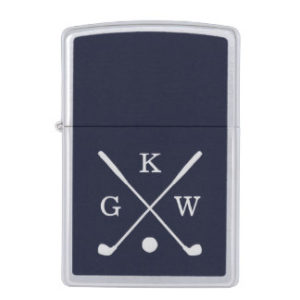 monogrammed golf clubs zippo lighter, unique gift for golfer