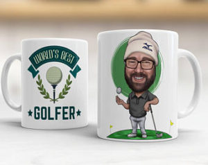 personalized golf mug with caricature