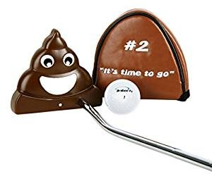 poop putter, poop emoji golf, funny golf putter