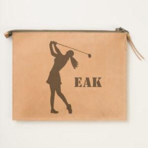 woman golfer monogram leather travel pouch