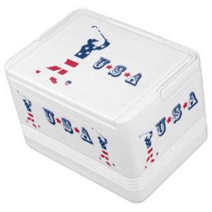 usa golfer - patriotic american golf cooler, golf cart cooler
