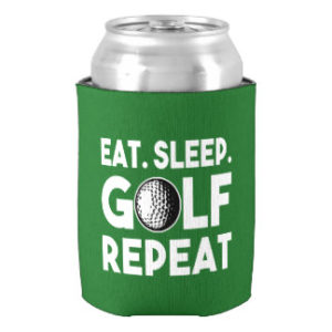 eat sleep golf repeat can cooler koozie, gifts for golfers who drink