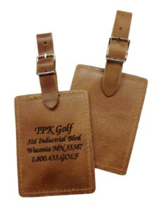 golf tournament gift ideas, leather golf bag tag gifts, custom engraved golf bag tags