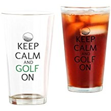 keep calm and golf on pint glass, golfer drinking gifts, golf pint glasses