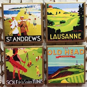 retro wooden golf print coasters, golf drinking gifts, golf coasters