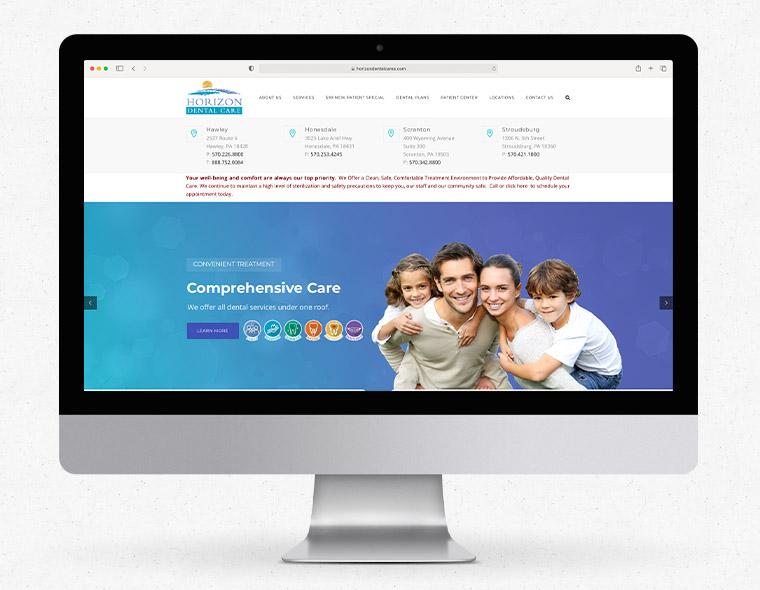 Horizon Dental Website - Desktop