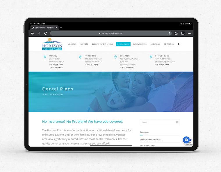 Horizon Dental Website - Tablet