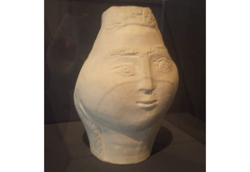 Picasso vase at the Musée des Beaux-Arts de Nice, France. Because it was created without the use of a pottery wheel, the vase takes on a more sculptural aspect than a traditional one.