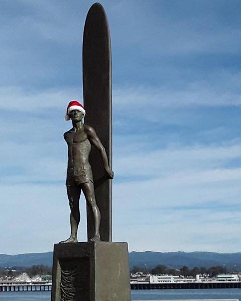 Surfer statue, Santa Cruz, California