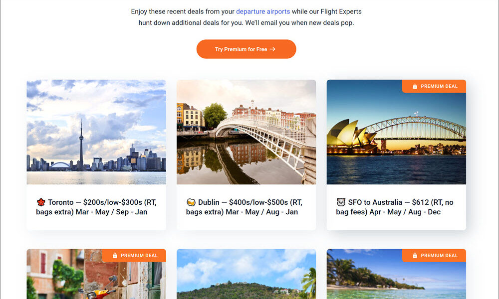 Scott's Cheap Flights Deal Page