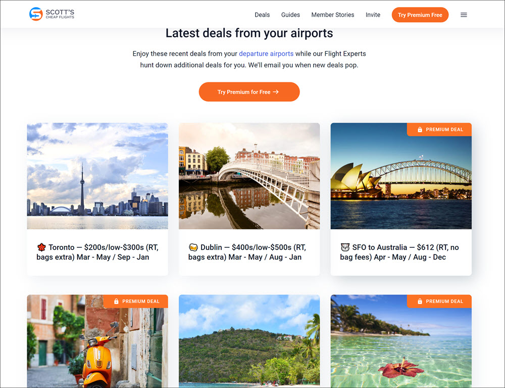 ScottsCheapFlights.com review: Deal Page