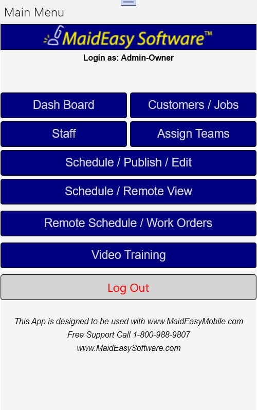 MaidEasy Cleaning Business Software mobile app menu screen