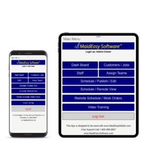MaidEasy's cleaning business software comes in an app that goes to your cell phone or tablet!