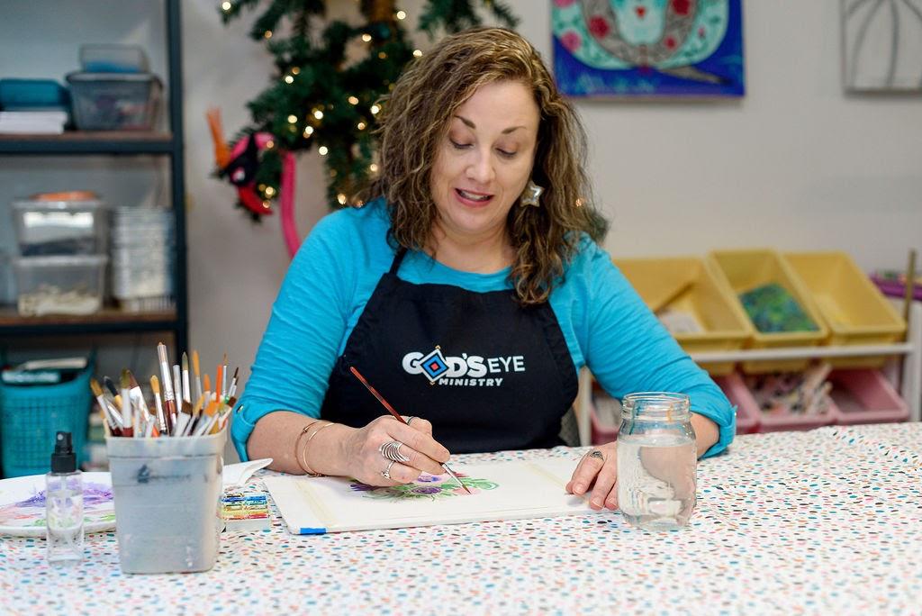Shana doing artwork