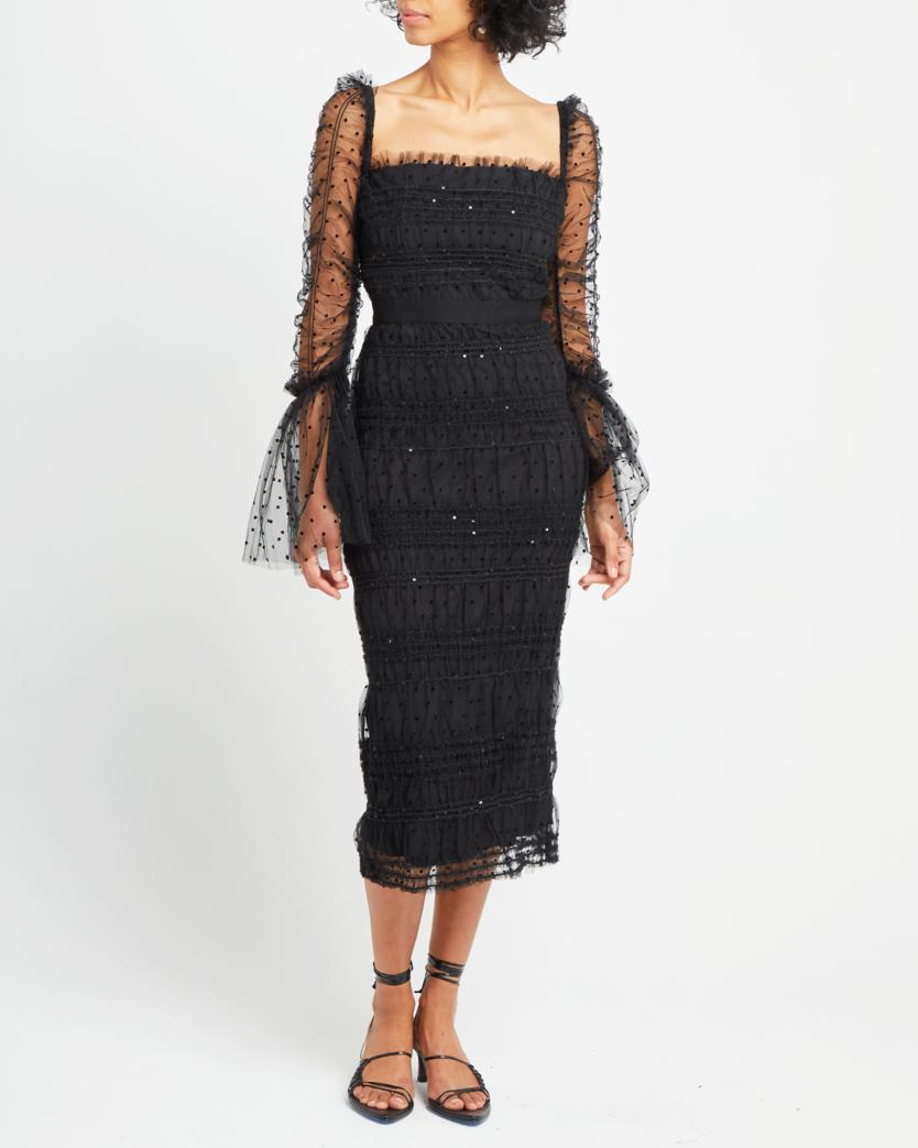 Cotton and Tulle Square Neck Dress