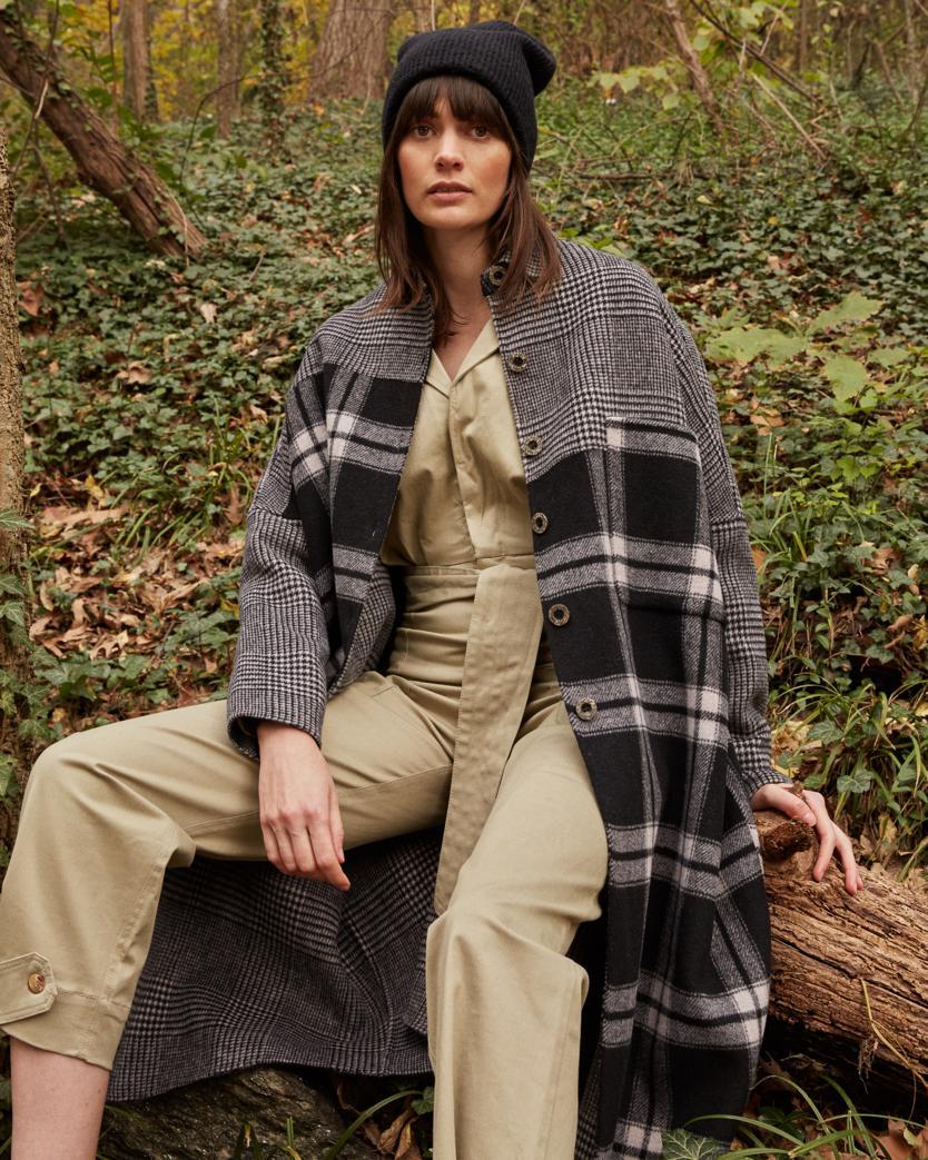 Double Face Plaid Wool Coat