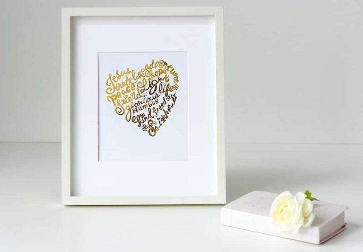 Gold Foil Heart Print