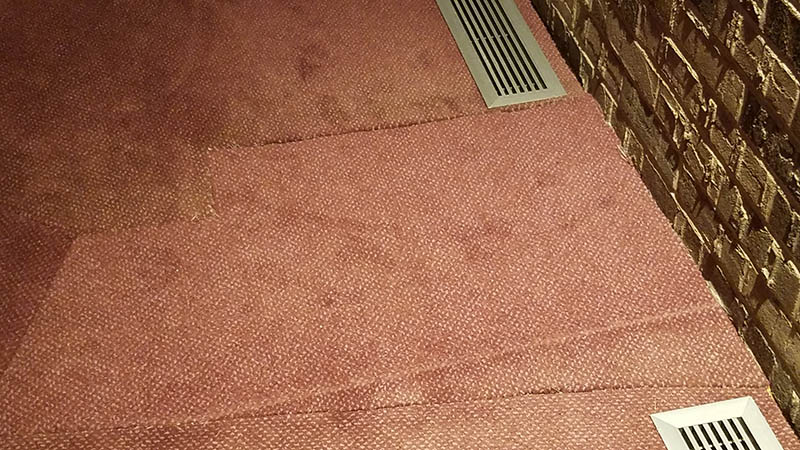 Close-up of carpet stitching