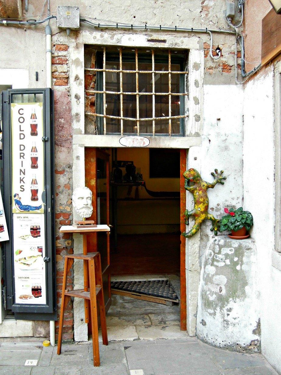 Art Gallery Entrance in Dorsoduro Venice Italy