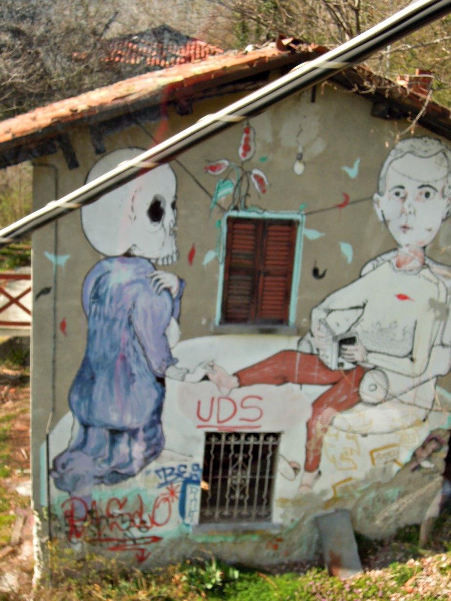 Graffiti near Como to Brunate Funicolare Italy